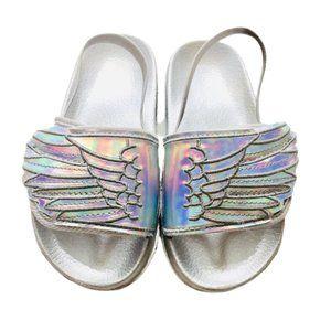 Iridescent Angel Wing Slider Sandals